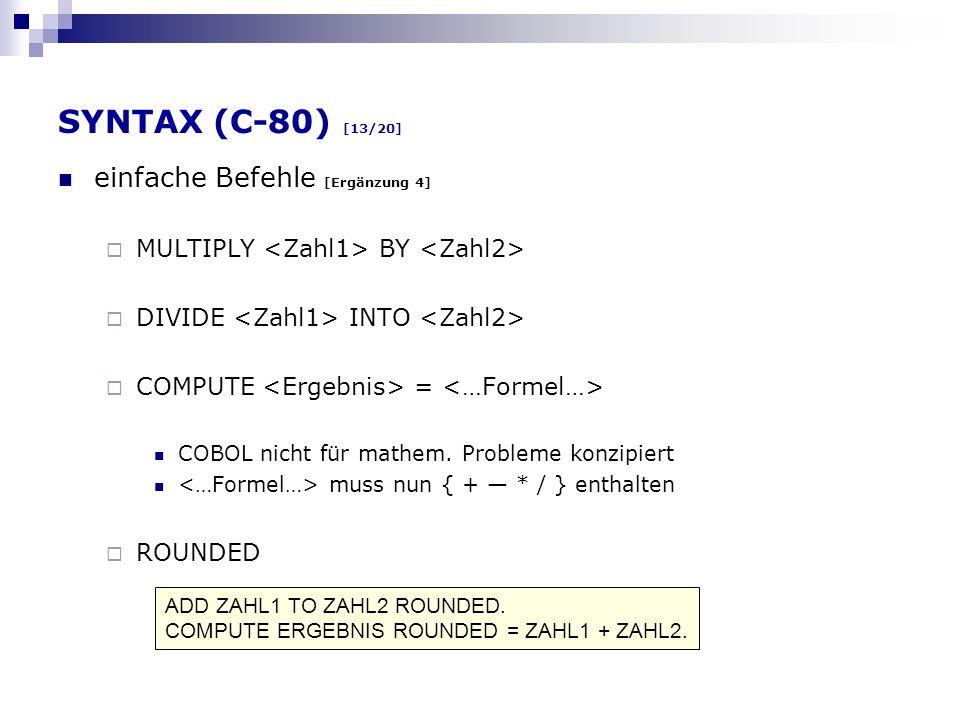 SYNTAX (C-80) [13/20] einfache Befehle [Ergänzung 4]
